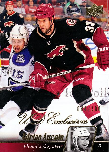 2010-11 Upper Deck UD Exclusives #405 Adrian Aucoin<br/>1 In Stock - $5.00 each - <a href=https://centericecollectibles.foxycart.com/cart?name=2010-11%20Upper%20Deck%20UD%20Exclusives%20%23405%20Adrian%20Aucoin...&quantity_max=1&price=$5.00&code=366738 class=foxycart> Buy it now! </a>