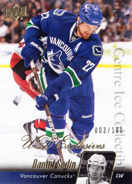 2010-11 Upper Deck UD Exclusives #438 Daniel Sedin<br/>1 In Stock - $5.00 each - <a href=https://centericecollectibles.foxycart.com/cart?name=2010-11%20Upper%20Deck%20UD%20Exclusives%20%23438%20Daniel%20Sedin...&price=$5.00&code=366771 class=foxycart> Buy it now! </a>