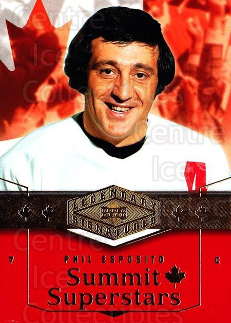 2004-05 UD Legendary Signatures Summit Stars #1 Phil Esposito<br/>2 In Stock - $5.00 each - <a href=https://centericecollectibles.foxycart.com/cart?name=2004-05%20UD%20Legendary%20Signatures%20Summit%20Stars%20%231%20Phil%20Esposito...&quantity_max=2&price=$5.00&code=367514 class=foxycart> Buy it now! </a>
