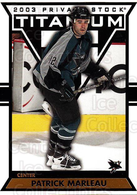2002-03 Titanium #86 Patrick Marleau<br/>6 In Stock - $1.00 each - <a href=https://centericecollectibles.foxycart.com/cart?name=2002-03%20Titanium%20%2386%20Patrick%20Marleau...&quantity_max=6&price=$1.00&code=367820 class=foxycart> Buy it now! </a>