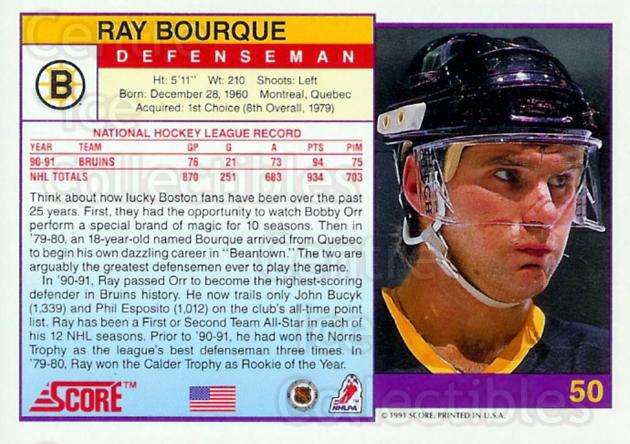1991-92 Score Promos USA #50 Ray Bourque<br/>23 In Stock - $5.00 each - <a href=https://centericecollectibles.foxycart.com/cart?name=1991-92%20Score%20Promos%20USA%20%2350%20Ray%20Bourque...&quantity_max=23&price=$5.00&code=368653 class=foxycart> Buy it now! </a>