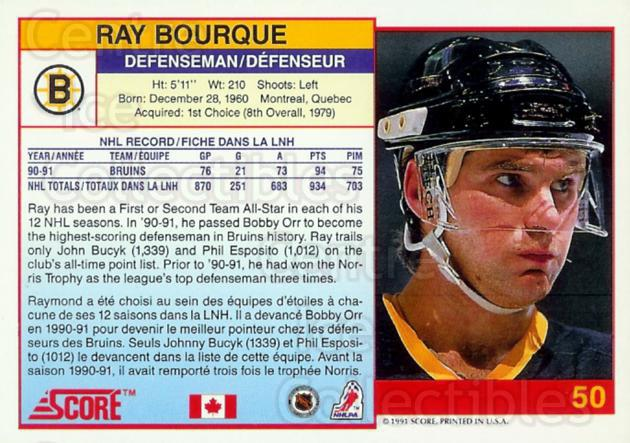 1991-92 Score Promos Canadian Bilingual #50 Ray Bourque<br/>23 In Stock - $5.00 each - <a href=https://centericecollectibles.foxycart.com/cart?name=1991-92%20Score%20Promos%20Canadian%20Bilingual%20%2350%20Ray%20Bourque...&quantity_max=23&price=$5.00&code=368655 class=foxycart> Buy it now! </a>
