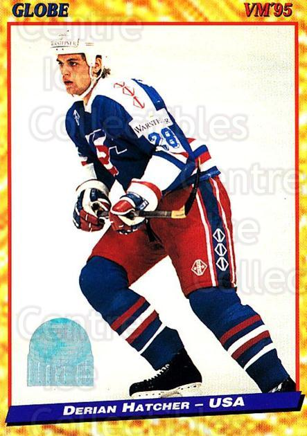 1995 Swedish Globe World Championships #109 Derian Hatcher<br/>12 In Stock - $2.00 each - <a href=https://centericecollectibles.foxycart.com/cart?name=1995%20Swedish%20Globe%20World%20Championships%20%23109%20Derian%20Hatcher...&quantity_max=12&price=$2.00&code=36997 class=foxycart> Buy it now! </a>