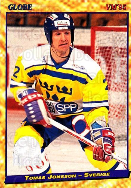 1995 Swedish Globe World Championships #14 Tomas Jonsson<br/>10 In Stock - $2.00 each - <a href=https://centericecollectibles.foxycart.com/cart?name=1995%20Swedish%20Globe%20World%20Championships%20%2314%20Tomas%20Jonsson...&price=$2.00&code=37025 class=foxycart> Buy it now! </a>