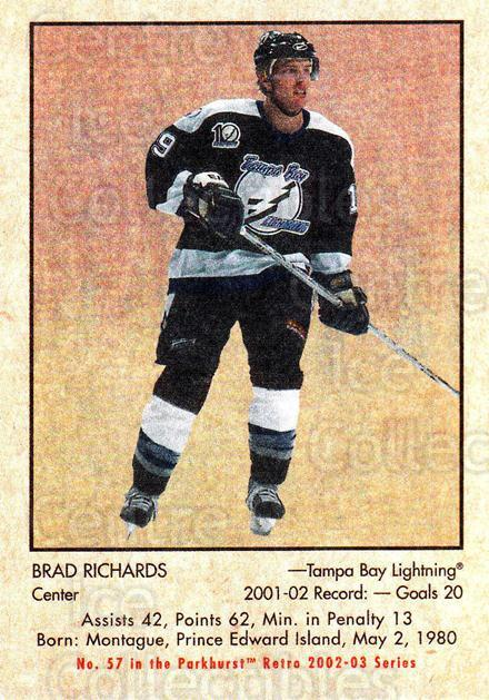 2002-03 Parkhurst Retro Minis #57 Brad Richards<br/>7 In Stock - $2.00 each - <a href=https://centericecollectibles.foxycart.com/cart?name=2002-03%20Parkhurst%20Retro%20Minis%20%2357%20Brad%20Richards...&quantity_max=7&price=$2.00&code=370780 class=foxycart> Buy it now! </a>