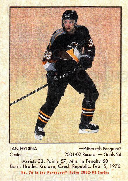 2002-03 Parkhurst Retro Minis #76 Jan Hrdina<br/>5 In Stock - $2.00 each - <a href=https://centericecollectibles.foxycart.com/cart?name=2002-03%20Parkhurst%20Retro%20Minis%20%2376%20Jan%20Hrdina...&quantity_max=5&price=$2.00&code=370799 class=foxycart> Buy it now! </a>