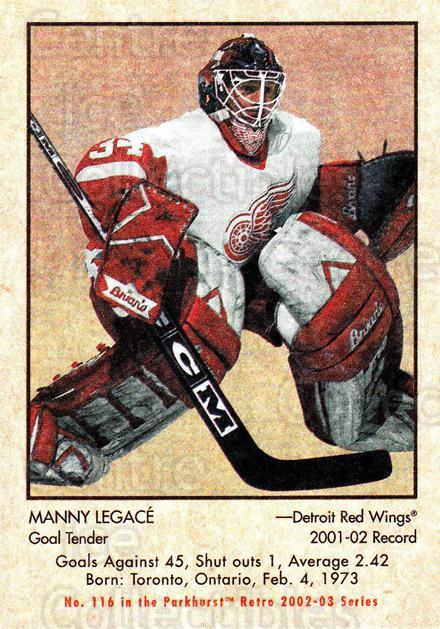 2002-03 Parkhurst Retro Minis #116 Manny Legace<br/>5 In Stock - $2.00 each - <a href=https://centericecollectibles.foxycart.com/cart?name=2002-03%20Parkhurst%20Retro%20Minis%20%23116%20Manny%20Legace...&quantity_max=5&price=$2.00&code=370843 class=foxycart> Buy it now! </a>