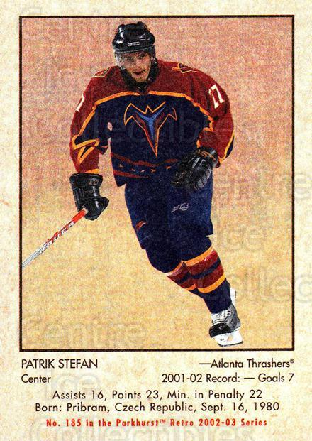 2002-03 Parkhurst Retro Minis #185 Patrik Stefan<br/>11 In Stock - $2.00 each - <a href=https://centericecollectibles.foxycart.com/cart?name=2002-03%20Parkhurst%20Retro%20Minis%20%23185%20Patrik%20Stefan...&quantity_max=11&price=$2.00&code=370915 class=foxycart> Buy it now! </a>