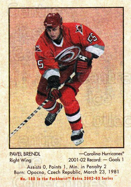 2002-03 Parkhurst Retro Minis #188 Pavel Brendl<br/>2 In Stock - $2.00 each - <a href=https://centericecollectibles.foxycart.com/cart?name=2002-03%20Parkhurst%20Retro%20Minis%20%23188%20Pavel%20Brendl...&quantity_max=2&price=$2.00&code=370918 class=foxycart> Buy it now! </a>