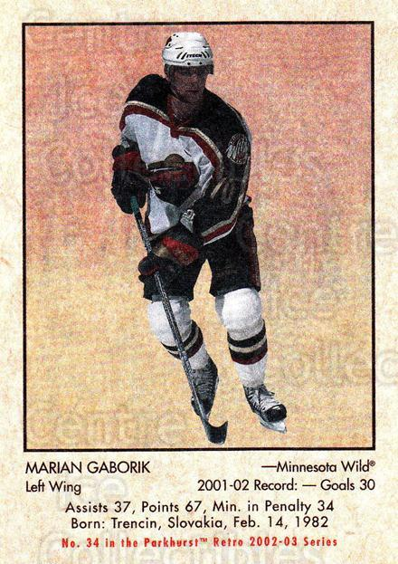 2002-03 Parkhurst Retro Minis #34 Marian Gaborik<br/>8 In Stock - $2.00 each - <a href=https://centericecollectibles.foxycart.com/cart?name=2002-03%20Parkhurst%20Retro%20Minis%20%2334%20Marian%20Gaborik...&quantity_max=8&price=$2.00&code=370948 class=foxycart> Buy it now! </a>