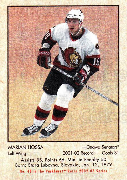 2002-03 Parkhurst Retro Minis #48 Marian Hossa<br/>2 In Stock - $2.00 each - <a href=https://centericecollectibles.foxycart.com/cart?name=2002-03%20Parkhurst%20Retro%20Minis%20%2348%20Marian%20Hossa...&quantity_max=2&price=$2.00&code=370961 class=foxycart> Buy it now! </a>