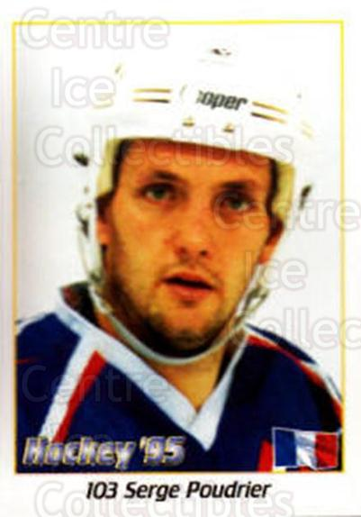 1995 Swedish World Championships Stickers #103 Serge Poudrier<br/>1 In Stock - $2.00 each - <a href=https://centericecollectibles.foxycart.com/cart?name=1995%20Swedish%20World%20Championships%20Stickers%20%23103%20Serge%20Poudrier...&quantity_max=1&price=$2.00&code=37144 class=foxycart> Buy it now! </a>
