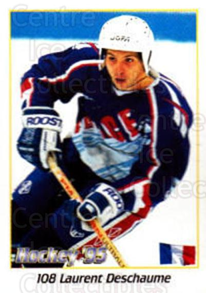 1995 Swedish World Championships Stickers #108 Laurent Deschaume<br/>4 In Stock - $2.00 each - <a href=https://centericecollectibles.foxycart.com/cart?name=1995%20Swedish%20World%20Championships%20Stickers%20%23108%20Laurent%20Deschau...&quantity_max=4&price=$2.00&code=37149 class=foxycart> Buy it now! </a>