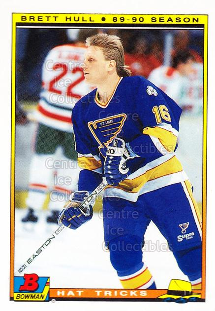 1990-91 Bowman Hat Tricks Tiffany #1 Brett Hull<br/>5 In Stock - $5.00 each - <a href=https://centericecollectibles.foxycart.com/cart?name=1990-91%20Bowman%20Hat%20Tricks%20Tiffany%20%231%20Brett%20Hull...&price=$5.00&code=372948 class=foxycart> Buy it now! </a>
