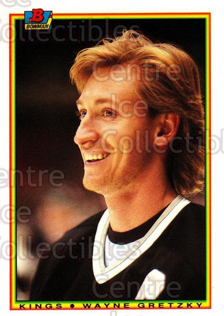 1990-91 Bowman Tiffany #143 Wayne Gretzky<br/>2 In Stock - $20.00 each - <a href=https://centericecollectibles.foxycart.com/cart?name=1990-91%20Bowman%20Tiffany%20%23143%20Wayne%20Gretzky...&quantity_max=2&price=$20.00&code=372955 class=foxycart> Buy it now! </a>