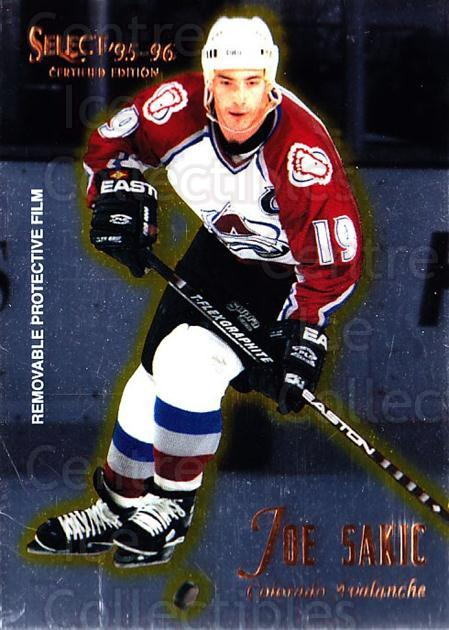 1995-96 Select Certified #45 Joe Sakic<br/>2 In Stock - $2.00 each - <a href=https://centericecollectibles.foxycart.com/cart?name=1995-96%20Select%20Certified%20%2345%20Joe%20Sakic...&quantity_max=2&price=$2.00&code=373613 class=foxycart> Buy it now! </a>