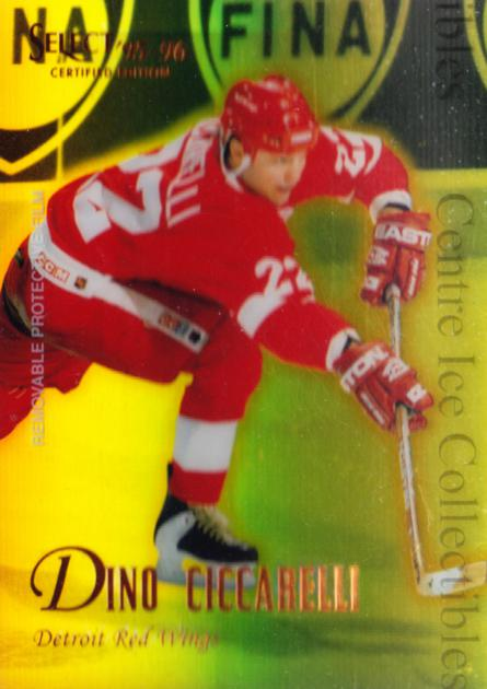 1995-96 Select Certified Mirror Gold #102 Dino Ciccarelli<br/>4 In Stock - $3.00 each - <a href=https://centericecollectibles.foxycart.com/cart?name=1995-96%20Select%20Certified%20Mirror%20Gold%20%23102%20Dino%20Ciccarelli...&quantity_max=4&price=$3.00&code=373623 class=foxycart> Buy it now! </a>