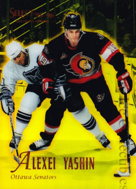 1995-96 Select Certified Mirror Gold #36 Alexei Yashin<br/>3 In Stock - $3.00 each - <a href=https://centericecollectibles.foxycart.com/cart?name=1995-96%20Select%20Certified%20Mirror%20Gold%20%2336%20Alexei%20Yashin...&quantity_max=3&price=$3.00&code=373688 class=foxycart> Buy it now! </a>