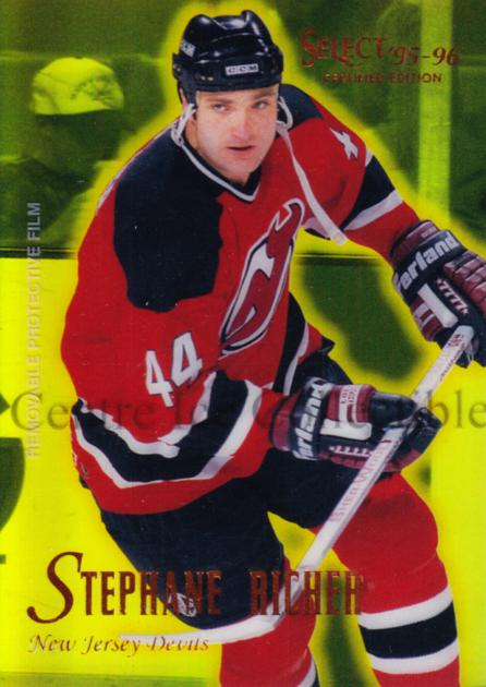 1995-96 Select Certified Mirror Gold #39 Stephane Richer<br/>4 In Stock - $3.00 each - <a href=https://centericecollectibles.foxycart.com/cart?name=1995-96%20Select%20Certified%20Mirror%20Gold%20%2339%20Stephane%20Richer...&quantity_max=4&price=$3.00&code=373691 class=foxycart> Buy it now! </a>