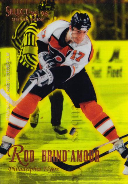 1995-96 Select Certified Mirror Gold #59 Rod Brind'Amour<br/>2 In Stock - $3.00 each - <a href=https://centericecollectibles.foxycart.com/cart?name=1995-96%20Select%20Certified%20Mirror%20Gold%20%2359%20Rod%20Brind'Amour...&quantity_max=2&price=$3.00&code=373711 class=foxycart> Buy it now! </a>