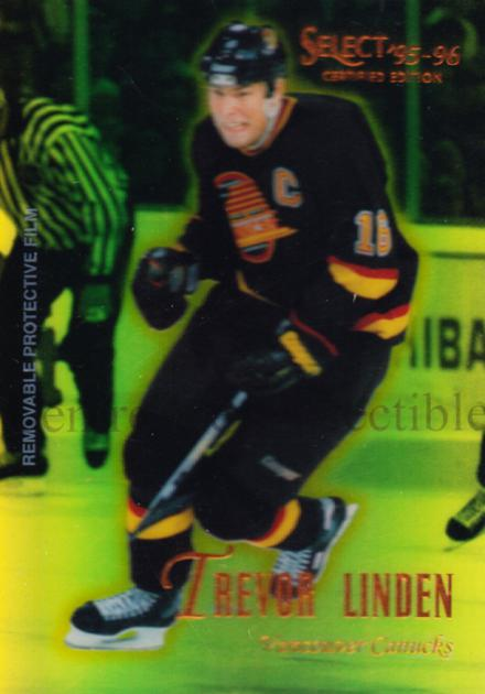 1995-96 Select Certified Mirror Gold #87 Trevor Linden<br/>4 In Stock - $3.00 each - <a href=https://centericecollectibles.foxycart.com/cart?name=1995-96%20Select%20Certified%20Mirror%20Gold%20%2387%20Trevor%20Linden...&quantity_max=4&price=$3.00&code=373738 class=foxycart> Buy it now! </a>