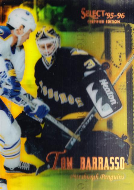 1995-96 Select Certified Mirror Gold #95 Tom Barrasso<br/>4 In Stock - $3.00 each - <a href=https://centericecollectibles.foxycart.com/cart?name=1995-96%20Select%20Certified%20Mirror%20Gold%20%2395%20Tom%20Barrasso...&price=$3.00&code=373746 class=foxycart> Buy it now! </a>