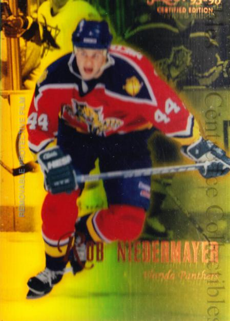 1995-96 Select Certified Mirror Gold #96 Rob Niedermayer<br/>5 In Stock - $3.00 each - <a href=https://centericecollectibles.foxycart.com/cart?name=1995-96%20Select%20Certified%20Mirror%20Gold%20%2396%20Rob%20Niedermayer...&quantity_max=5&price=$3.00&code=373747 class=foxycart> Buy it now! </a>