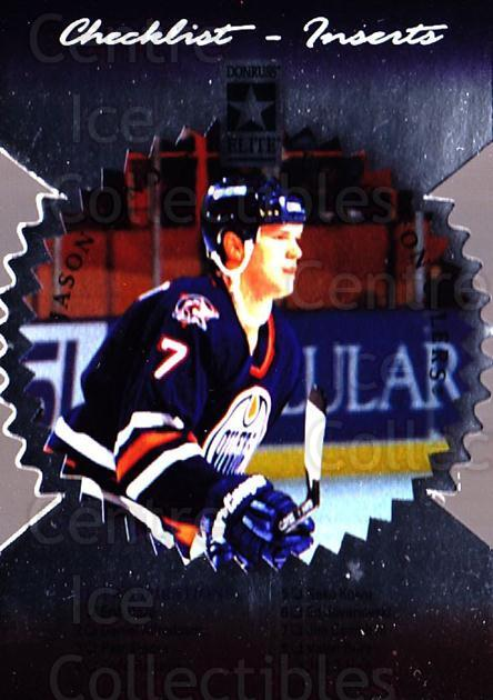 1996-97 Donruss Elite Die Cut Stars #150 Jason Arnott, Checklist<br/>1 In Stock - $5.00 each - <a href=https://centericecollectibles.foxycart.com/cart?name=1996-97%20Donruss%20Elite%20Die%20Cut%20Stars%20%23150%20Jason%20Arnott,%20C...&quantity_max=1&price=$5.00&code=375360 class=foxycart> Buy it now! </a>