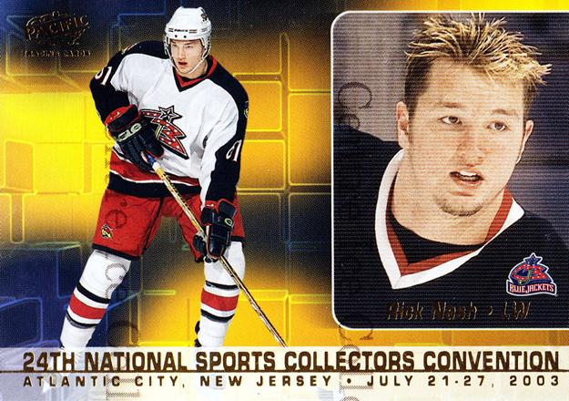 2003 Pacific National Redemption #1 John LeClair, Rick Nash<br/>4 In Stock - $5.00 each - <a href=https://centericecollectibles.foxycart.com/cart?name=2003%20Pacific%20National%20Redemption%20%231%20John%20LeClair,%20R...&quantity_max=4&price=$5.00&code=376002 class=foxycart> Buy it now! </a>