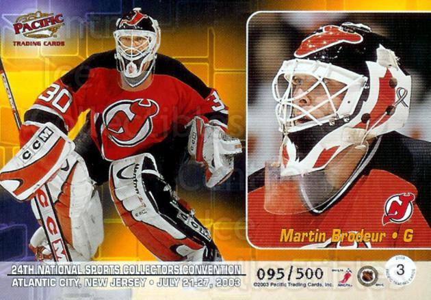2003 Pacific National Redemption #3 Martin Brodeur, Ryan Miller<br/>2 In Stock - $5.00 each - <a href=https://centericecollectibles.foxycart.com/cart?name=2003%20Pacific%20National%20Redemption%20%233%20Martin%20Brodeur,...&price=$5.00&code=376004 class=foxycart> Buy it now! </a>