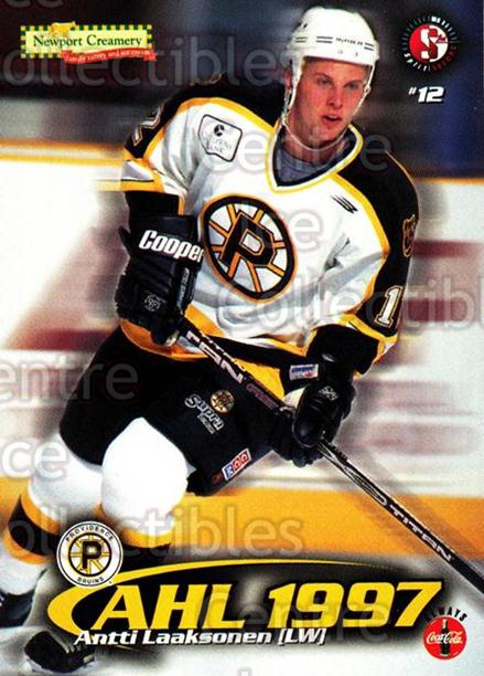 1997-98 Providence Bruins #8 Antti Laaksonen<br/>6 In Stock - $3.00 each - <a href=https://centericecollectibles.foxycart.com/cart?name=1997-98%20Providence%20Bruins%20%238%20Antti%20Laaksonen...&price=$3.00&code=376207 class=foxycart> Buy it now! </a>