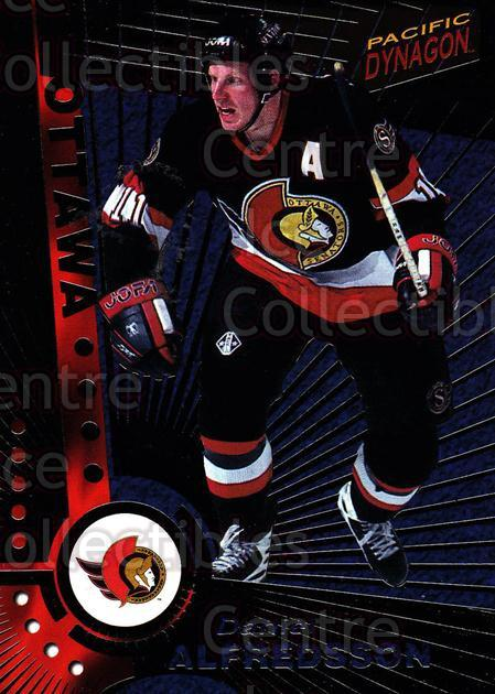 1997-98 Dynagon Dark Grey #83 Daniel Alfredsson<br/>4 In Stock - $3.00 each - <a href=https://centericecollectibles.foxycart.com/cart?name=1997-98%20Dynagon%20Dark%20Grey%20%2383%20Daniel%20Alfredss...&quantity_max=4&price=$3.00&code=376817 class=foxycart> Buy it now! </a>
