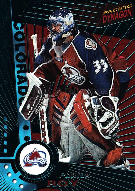 1997-98 Dynagon Emerald #33 Patrick Roy<br/>12 In Stock - $10.00 each - <a href=https://centericecollectibles.foxycart.com/cart?name=1997-98%20Dynagon%20Emerald%20%2333%20Patrick%20Roy...&quantity_max=12&price=$10.00&code=376849 class=foxycart> Buy it now! </a>