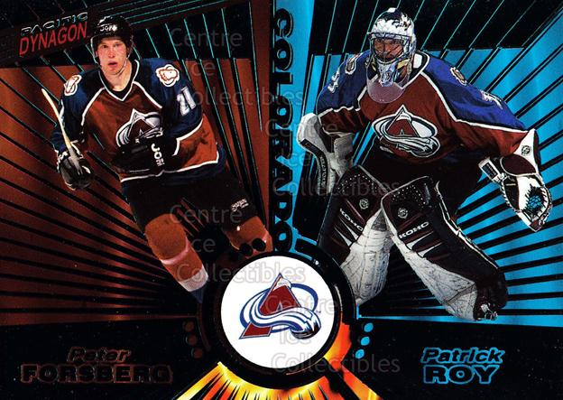 1997-98 Pacific Dynagon Emerald #138 Patrick Roy, Peter Forsberg<br/>3 In Stock - $20.00 each - <a href=https://centericecollectibles.foxycart.com/cart?name=1997-98%20Pacific%20Dynagon%20Emerald%20%23138%20Patrick%20Roy,%20Pe...&price=$20.00&code=376859 class=foxycart> Buy it now! </a>