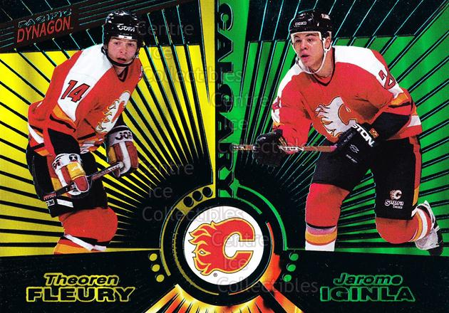 1997-98 Dynagon Emerald #137 Theo Fleury, Jarome Iginla<br/>11 In Stock - $3.00 each - <a href=https://centericecollectibles.foxycart.com/cart?name=1997-98%20Dynagon%20Emerald%20%23137%20Theo%20Fleury,%20Ja...&quantity_max=11&price=$3.00&code=376902 class=foxycart> Buy it now! </a>