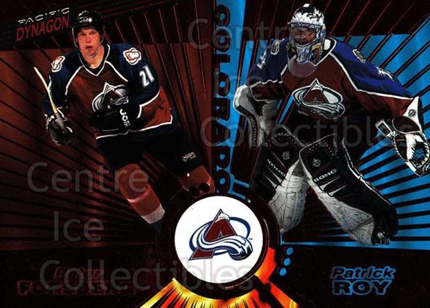 1997-98 Pacific Dynagon Red #138 Patrick Roy, Peter Forsberg<br/>2 In Stock - $20.00 each - <a href=https://centericecollectibles.foxycart.com/cart?name=1997-98%20Pacific%20Dynagon%20Red%20%23138%20Patrick%20Roy,%20Pe...&price=$20.00&code=377169 class=foxycart> Buy it now! </a>