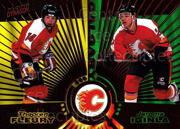 1997-98 Dynagon Red #137 Theo Fleury, Jarome Iginla<br/>3 In Stock - $5.00 each - <a href=https://centericecollectibles.foxycart.com/cart?name=1997-98%20Dynagon%20Red%20%23137%20Theo%20Fleury,%20Ja...&quantity_max=3&price=$5.00&code=377212 class=foxycart> Buy it now! </a>