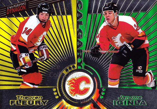 1997-98 Dynagon Silver #137 Theo Fleury, Jarome Iginla<br/>10 In Stock - $3.00 each - <a href=https://centericecollectibles.foxycart.com/cart?name=1997-98%20Dynagon%20Silver%20%23137%20Theo%20Fleury,%20Ja...&quantity_max=10&price=$3.00&code=377367 class=foxycart> Buy it now! </a>