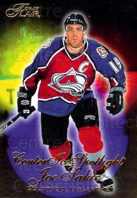 1996-97 Flair Center Ice Spotlight #7 Joe Sakic<br/>9 In Stock - $3.00 each - <a href=https://centericecollectibles.foxycart.com/cart?name=1996-97%20Flair%20Center%20Ice%20Spotlight%20%237%20Joe%20Sakic...&price=$3.00&code=378268 class=foxycart> Buy it now! </a>