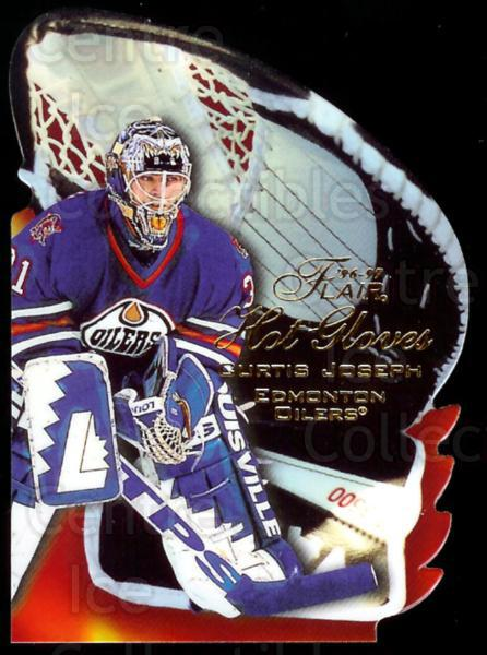 1996-97 Flair Hot Gloves #5 Curtis Joseph<br/>3 In Stock - $5.00 each - <a href=https://centericecollectibles.foxycart.com/cart?name=1996-97%20Flair%20Hot%20Gloves%20%235%20Curtis%20Joseph...&quantity_max=3&price=$5.00&code=378275 class=foxycart> Buy it now! </a>