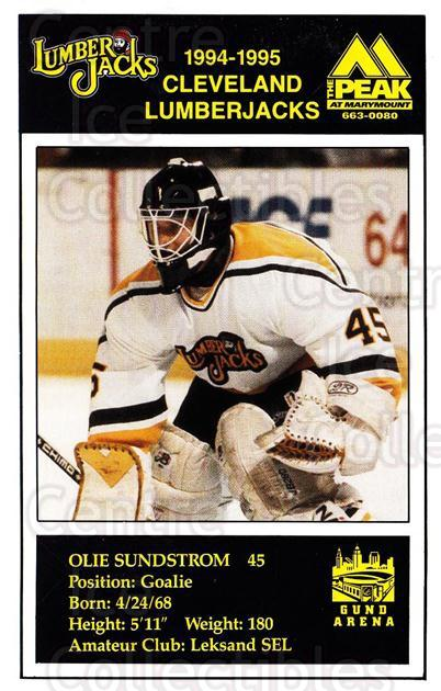 1994-95 Cleveland Lumberjacks Postcards #23 Olie Sundstrom<br/>1 In Stock - $3.00 each - <a href=https://centericecollectibles.foxycart.com/cart?name=1994-95%20Cleveland%20Lumberjacks%20Postcards%20%2323%20Olie%20Sundstrom...&quantity_max=1&price=$3.00&code=379092 class=foxycart> Buy it now! </a>