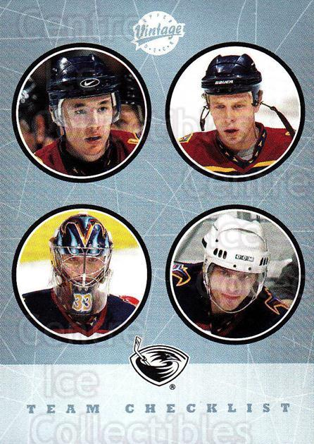 2002-03 UD Vintage #262 Milan Hnilicka, Patrik Stefan, Dany Heatley, Ilya Kovalchuk, Checklist<br/>1 In Stock - $2.00 each - <a href=https://centericecollectibles.foxycart.com/cart?name=2002-03%20UD%20Vintage%20%23262%20Milan%20Hnilicka,...&quantity_max=1&price=$2.00&code=380050 class=foxycart> Buy it now! </a>