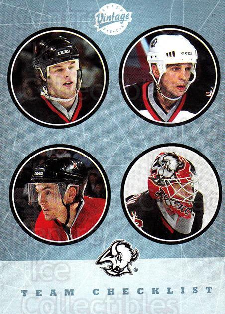 2002-03 UD Vintage #264 Stu Barnes, Miroslav Satan, Martin Biron, Tim Connolly, Checklist<br/>1 In Stock - $2.00 each - <a href=https://centericecollectibles.foxycart.com/cart?name=2002-03%20UD%20Vintage%20%23264%20Stu%20Barnes,%20Mir...&quantity_max=1&price=$2.00&code=380052 class=foxycart> Buy it now! </a>