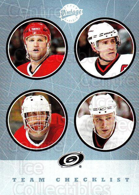 2002-03 UD Vintage #266 Ron Francis, Arturs Irbe, Jeff O'Neill, Erik Cole, Checklist<br/>1 In Stock - $2.00 each - <a href=https://centericecollectibles.foxycart.com/cart?name=2002-03%20UD%20Vintage%20%23266%20Ron%20Francis,%20Ar...&quantity_max=1&price=$2.00&code=380054 class=foxycart> Buy it now! </a>