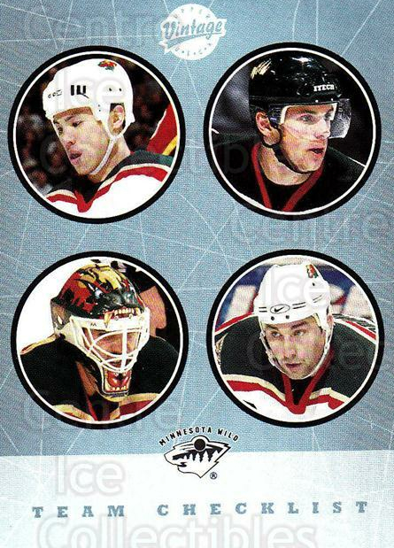 2002-03 UD Vintage #275 Andrew Brunette, Manny Fernandez, Richard Park, Marian Gaborik, Checklist<br/>3 In Stock - $2.00 each - <a href=https://centericecollectibles.foxycart.com/cart?name=2002-03%20UD%20Vintage%20%23275%20Andrew%20Brunette...&price=$2.00&code=380063 class=foxycart> Buy it now! </a>