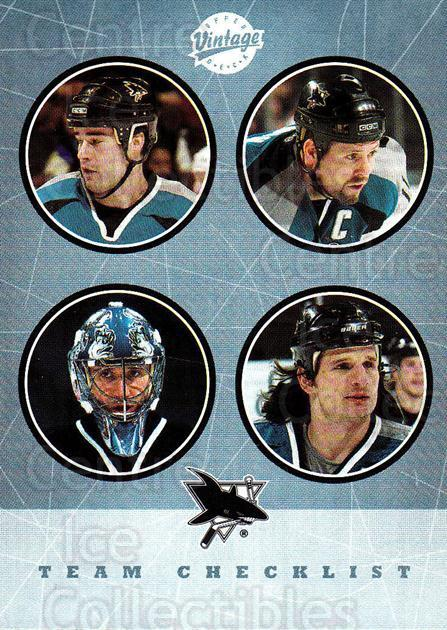 2002-03 UD Vintage #285 Owen Nolan, Mike Ricci, Patrick Marleau, Evgeni Nabokov, Checklist<br/>1 In Stock - $2.00 each - <a href=https://centericecollectibles.foxycart.com/cart?name=2002-03%20UD%20Vintage%20%23285%20Owen%20Nolan,%20Mik...&quantity_max=1&price=$2.00&code=380073 class=foxycart> Buy it now! </a>
