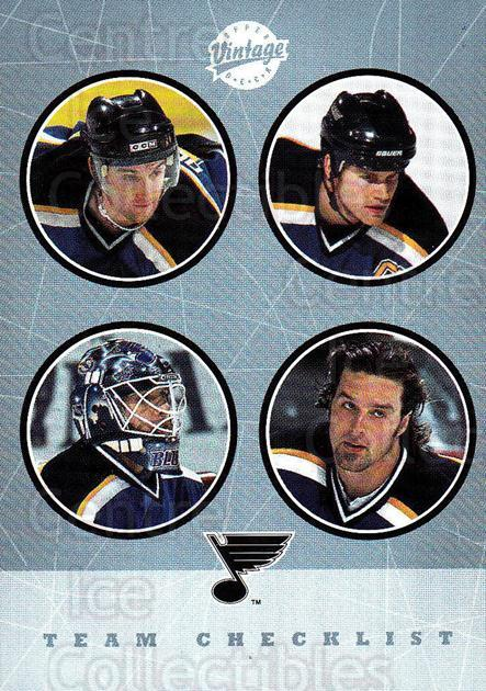 2002-03 UD Vintage #286 Pavol Demitra, Chris Pronger, Tyson Nash, Brent Johnson, Checklist<br/>1 In Stock - $2.00 each - <a href=https://centericecollectibles.foxycart.com/cart?name=2002-03%20UD%20Vintage%20%23286%20Pavol%20Demitra,%20...&quantity_max=1&price=$2.00&code=380074 class=foxycart> Buy it now! </a>