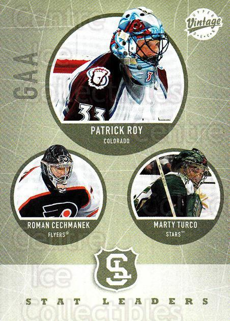 2002-03 UD Vintage #317 Patrick Roy, Roman Cechmanek, Marty Turco<br/>2 In Stock - $3.00 each - <a href=https://centericecollectibles.foxycart.com/cart?name=2002-03%20UD%20Vintage%20%23317%20Patrick%20Roy,%20Ro...&quantity_max=2&price=$3.00&code=380079 class=foxycart> Buy it now! </a>