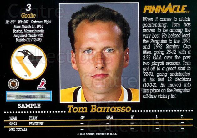 1993-94 Pinnacle Promos Samples #3 Tom Barrasso<br/>9 In Stock - $3.00 each - <a href=https://centericecollectibles.foxycart.com/cart?name=1993-94%20Pinnacle%20Promos%20Samples%20%233%20Tom%20Barrasso...&price=$3.00&code=380087 class=foxycart> Buy it now! </a>