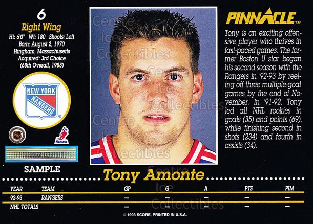 1993-94 Pinnacle Promos Samples #6 Tony Amonte<br/>11 In Stock - $3.00 each - <a href=https://centericecollectibles.foxycart.com/cart?name=1993-94%20Pinnacle%20Promos%20Samples%20%236%20Tony%20Amonte...&quantity_max=11&price=$3.00&code=380089 class=foxycart> Buy it now! </a>